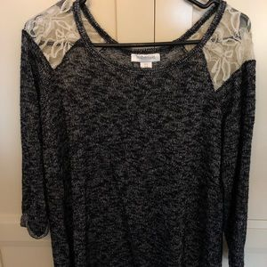 Motherhood maternity blouse with lace accent